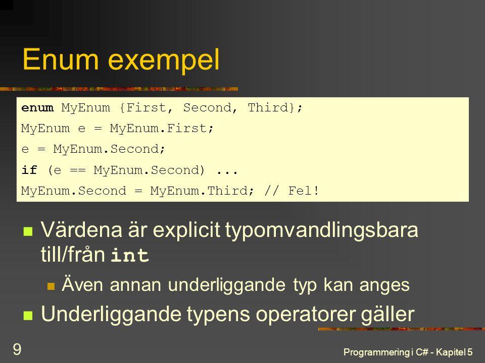 Programmering i C# - Kapitel 5 9 Enum exempel Värdena är explicit typomvandlingsbara till/från int Även annan underliggande typ kan anges Underliggande typens operatorer gäller enum MyEnum {First, Second, Third}; MyEnum e = MyEnum.First; e = MyEnum.Second; if (e == MyEnum.Second)...