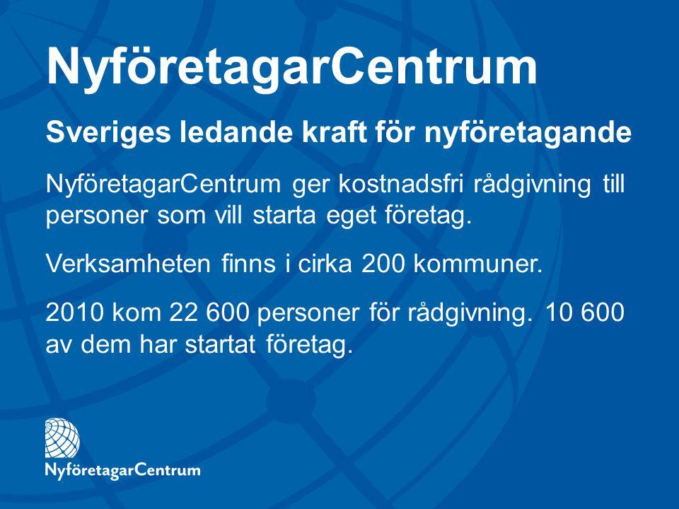 NyföretagarCentrum Sveriges ledande kraft för nyföretagande NyföretagarCentrum ger kostnadsfri rådgivning till personer som vill starta eget företag.