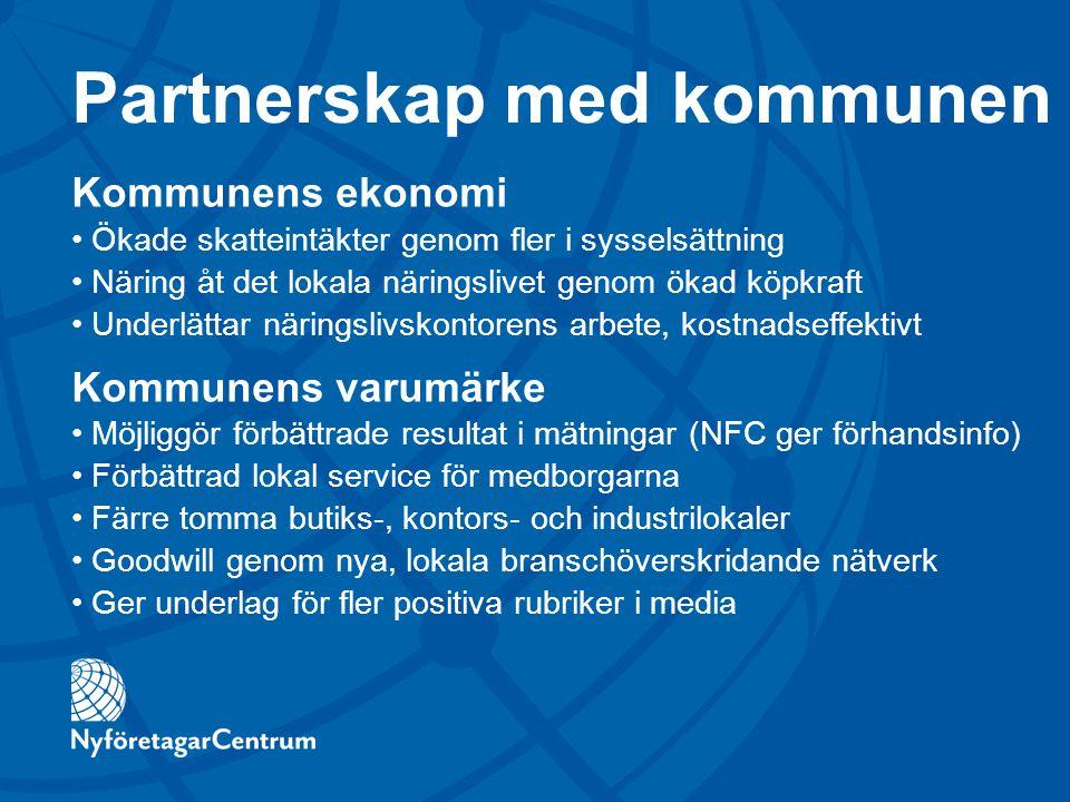 Partnerskap med kommunen Kommunens ekonomi Ökade skatteintäkter genom fler i sysselsättning Näring åt det lokala näringslivet genom ökad köpkraft Unde