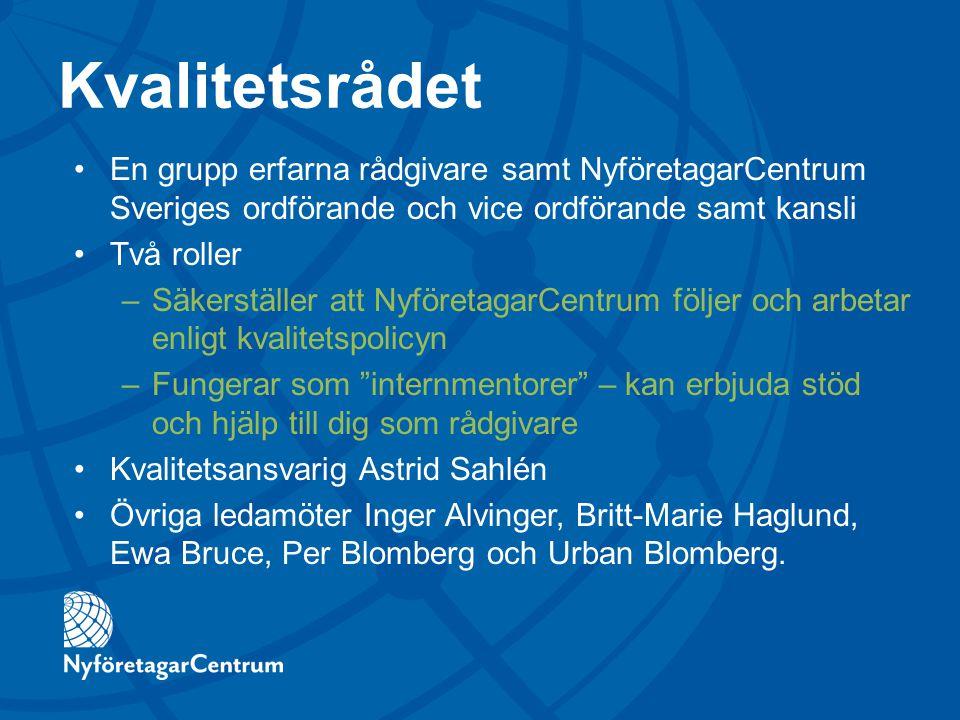 Kvalitetsrådet En grupp erfarna rådgivare samt NyföretagarCentrum Sveriges ordförande och vice ordförande samt kansli Två roller –Säkerställer att Nyf
