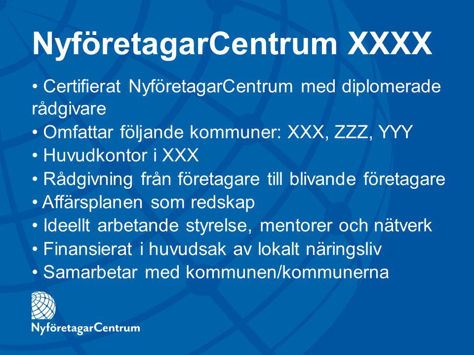 NyföretagarCentrum XXXX Certifierat NyföretagarCentrum med diplomerade rådgivare Omfattar följande kommuner: XXX, ZZZ, YYY Huvudkontor i XXX Rådgivnin