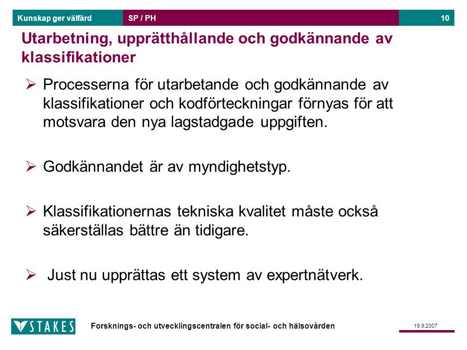 Forsknings- och utvecklingscentralen för social- och hälsovården Kunskap ger välfärd 19.9.2007 SP / PH10 Utarbetning, upprätthållande och godkännande