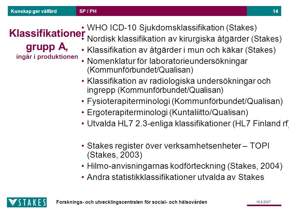 Forsknings- och utvecklingscentralen för social- och hälsovården Kunskap ger välfärd 19.9.2007 SP / PH14 Klassifikationer grupp A, ingår i produktione