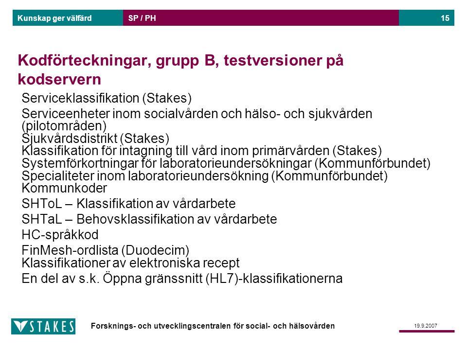 Forsknings- och utvecklingscentralen för social- och hälsovården Kunskap ger välfärd 19.9.2007 SP / PH15 Kodförteckningar, grupp B, testversioner på k