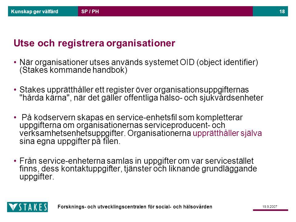 Forsknings- och utvecklingscentralen för social- och hälsovården Kunskap ger välfärd 19.9.2007 SP / PH18 Utse och registrera organisationer När organi
