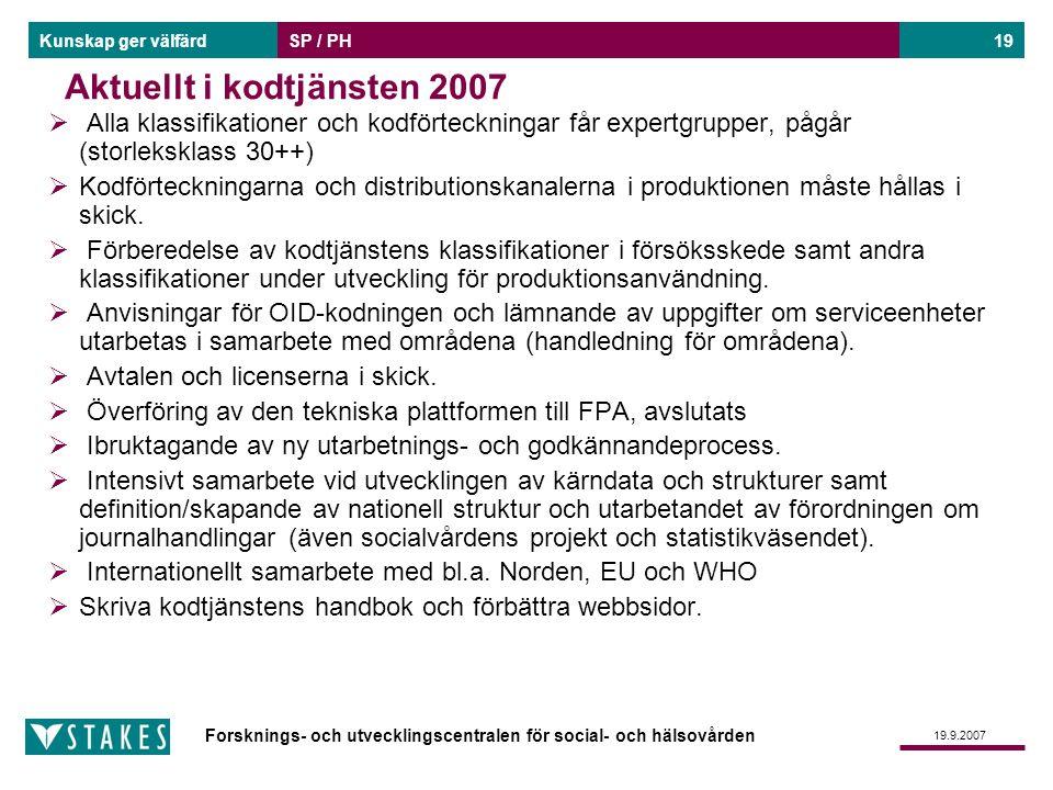 Forsknings- och utvecklingscentralen för social- och hälsovården Kunskap ger välfärd 19.9.2007 SP / PH19 Aktuellt i kodtjänsten 2007  Alla klassifika