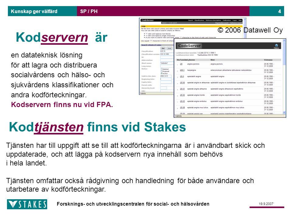 Forsknings- och utvecklingscentralen för social- och hälsovården Kunskap ger välfärd 19.9.2007 SP / PH4 Kodservern är en datateknisk lösning för att l