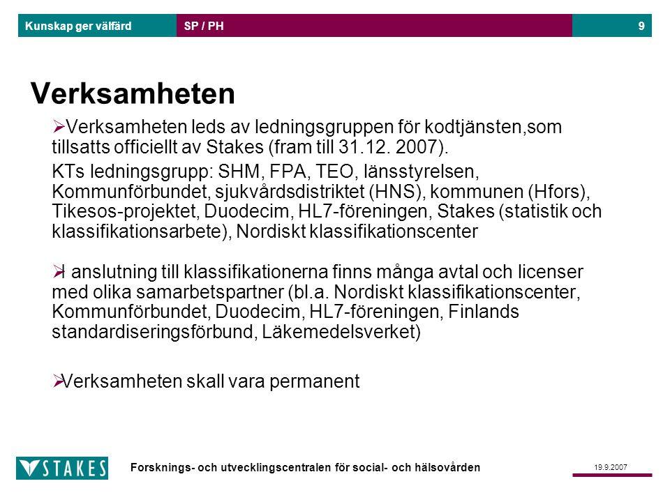 Forsknings- och utvecklingscentralen för social- och hälsovården Kunskap ger välfärd 19.9.2007 SP / PH10 Utarbetning, upprätthållande och godkännande av klassifikationer  Processerna för utarbetande och godkännande av klassifikationer och kodförteckningar förnyas för att motsvara den nya lagstadgade uppgiften.