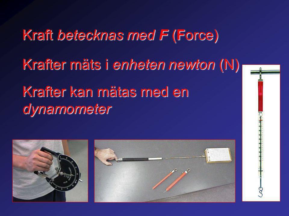 Kraft betecknas med F (Force) Krafter mäts i enheten newton (N) Krafter kan mätas med en dynamometer