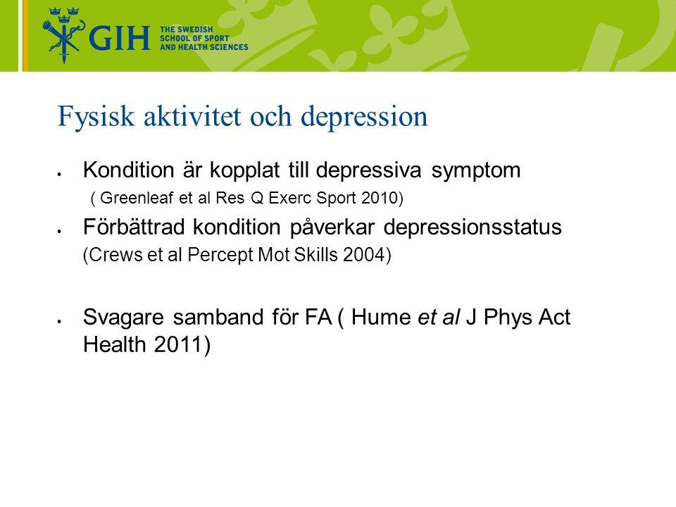 Fysisk aktivitet och depression  Kondition är kopplat till depressiva symptom ( Greenleaf et al Res Q Exerc Sport 2010)  Förbättrad kondition påverkar depressionsstatus (Crews et al Percept Mot Skills 2004)  Svagare samband för FA ( Hume et al J Phys Act Health 2011)