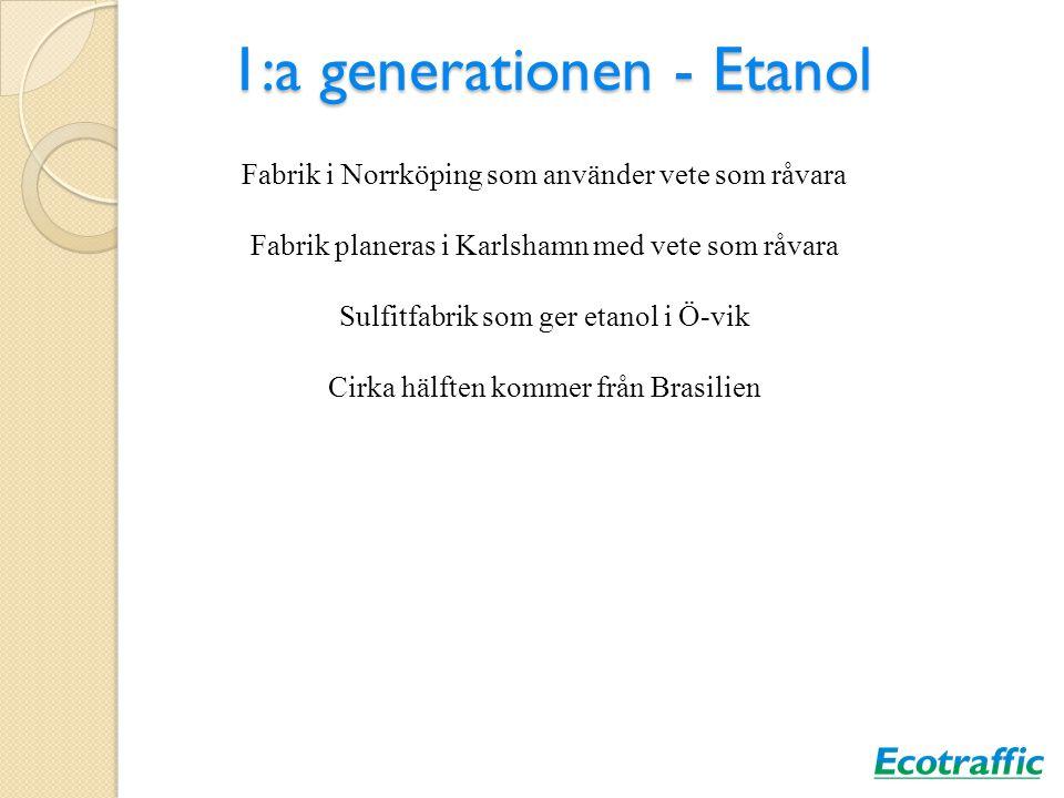 1:a generationen - Etanol Fabrik i Norrköping som använder vete som råvara Fabrik planeras i Karlshamn med vete som råvara Sulfitfabrik som ger etanol