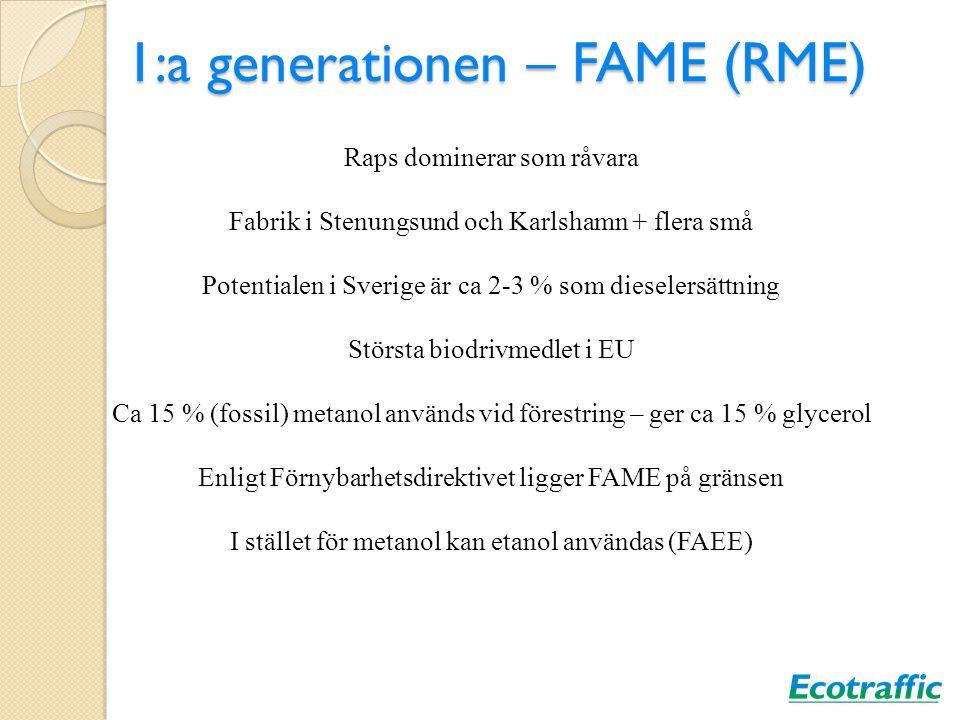 1:a generationen – FAME (RME) Raps dominerar som råvara Fabrik i Stenungsund och Karlshamn + flera små Potentialen i Sverige är ca 2-3 % som dieselers