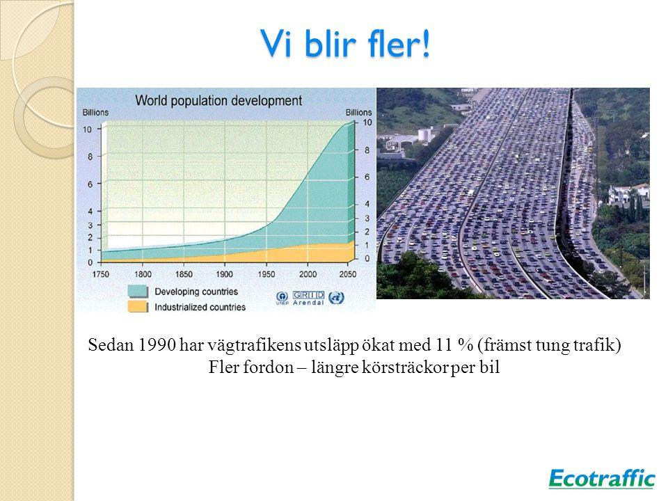Vi blir fler! Sedan 1990 har vägtrafikens utsläpp ökat med 11 % (främst tung trafik) Fler fordon – längre körsträckor per bil
