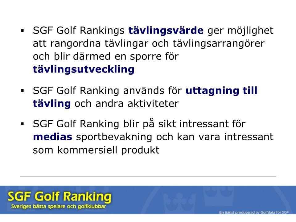  SGF Golf Rankings tävlingsvärde ger möjlighet att rangordna tävlingar och tävlingsarrangörer och blir därmed en sporre för tävlingsutveckling  SGF Golf Ranking används för uttagning till tävling och andra aktiviteter  SGF Golf Ranking blir på sikt intressant för medias sportbevakning och kan vara intressant som kommersiell produkt
