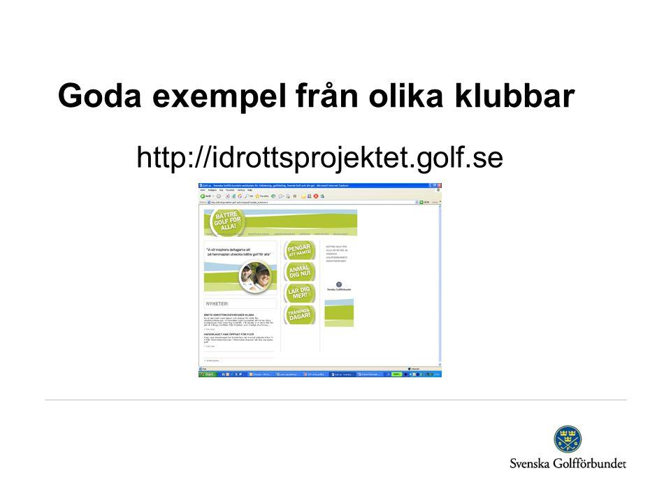 Goda exempel från olika klubbar http://idrottsprojektet.golf.se