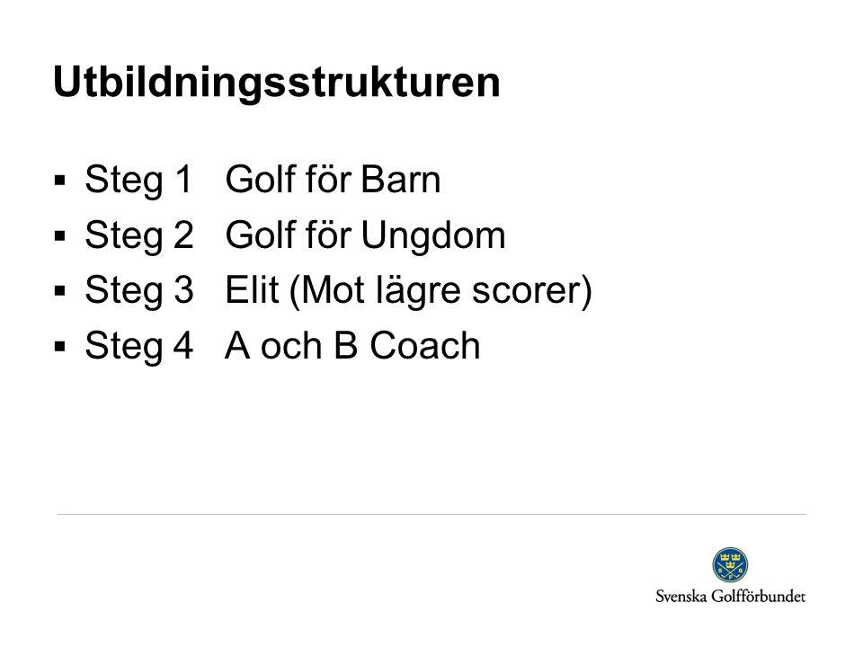 Utbildningsstrukturen  Steg 1Golf för Barn  Steg 2Golf för Ungdom  Steg 3Elit (Mot lägre scorer)  Steg 4 A och B Coach