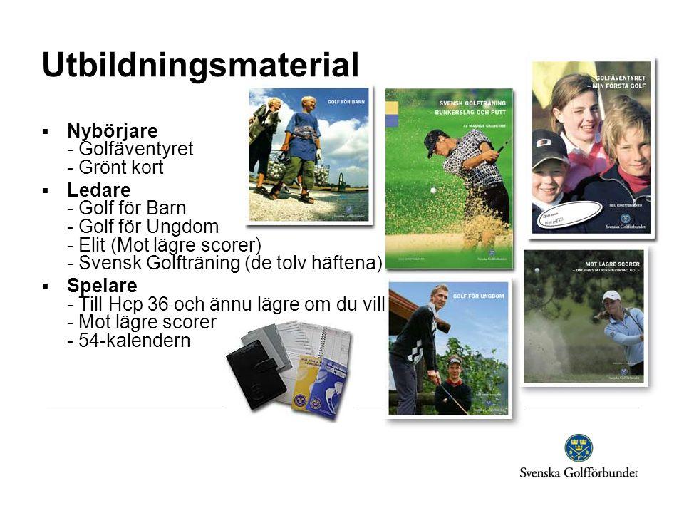Utbildningsmaterial  Nybörjare - Golfäventyret - Grönt kort  Ledare - Golf för Barn - Golf för Ungdom - Elit (Mot lägre scorer) - Svensk Golfträning (de tolv häftena)  Spelare - Till Hcp 36 och ännu lägre om du vill - Mot lägre scorer - 54-kalendern