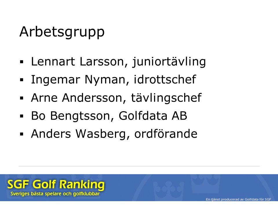 Arbetsgrupp  Lennart Larsson, juniortävling  Ingemar Nyman, idrottschef  Arne Andersson, tävlingschef  Bo Bengtsson, Golfdata AB  Anders Wasberg, ordförande