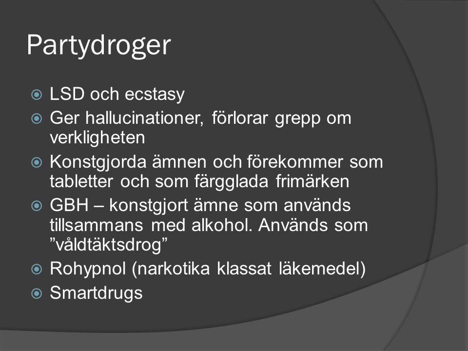 Partydroger  LSD och ecstasy  Ger hallucinationer, förlorar grepp om verkligheten  Konstgjorda ämnen och förekommer som tabletter och som färgglada