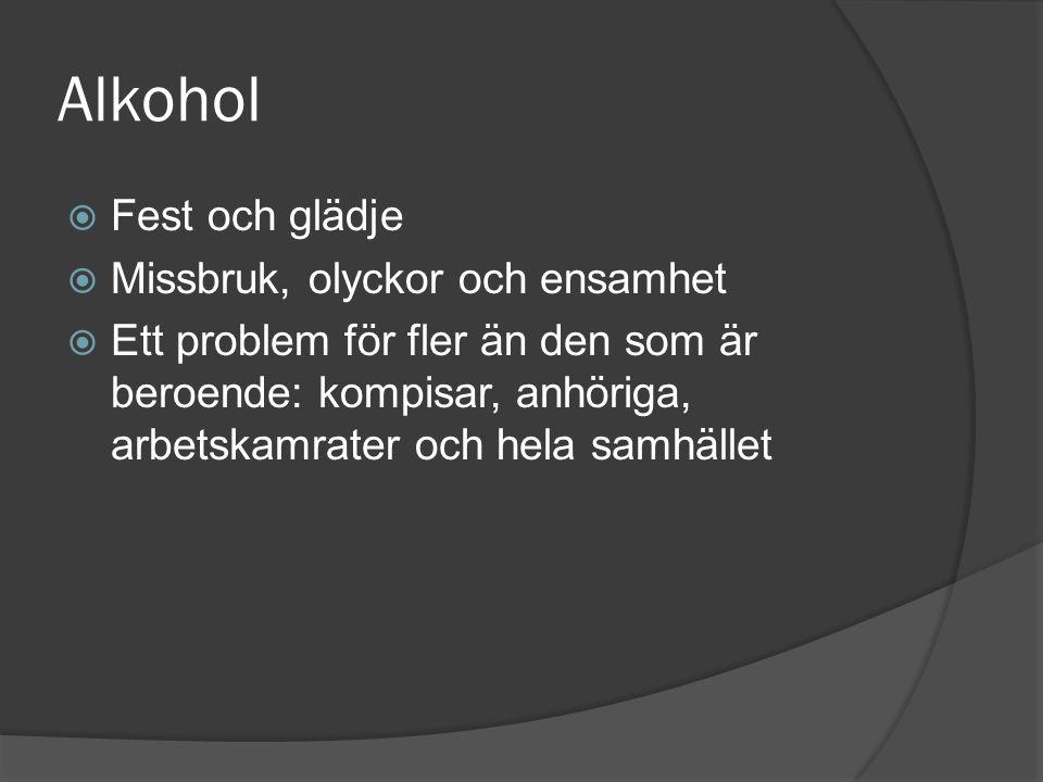 Alkohol  Fest och glädje  Missbruk, olyckor och ensamhet  Ett problem för fler än den som är beroende: kompisar, anhöriga, arbetskamrater och hela