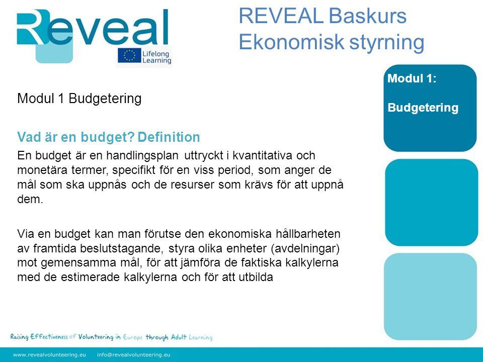 Modul 1 Budgetering Vad är en budget.