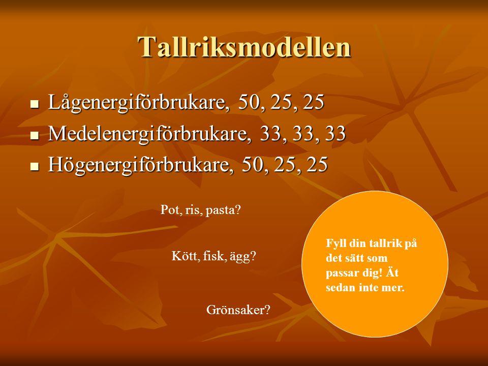 Tallriksmodellen Lågenergiförbrukare, 50, 25, 25 Lågenergiförbrukare, 50, 25, 25 Medelenergiförbrukare, 33, 33, 33 Medelenergiförbrukare, 33, 33, 33 H