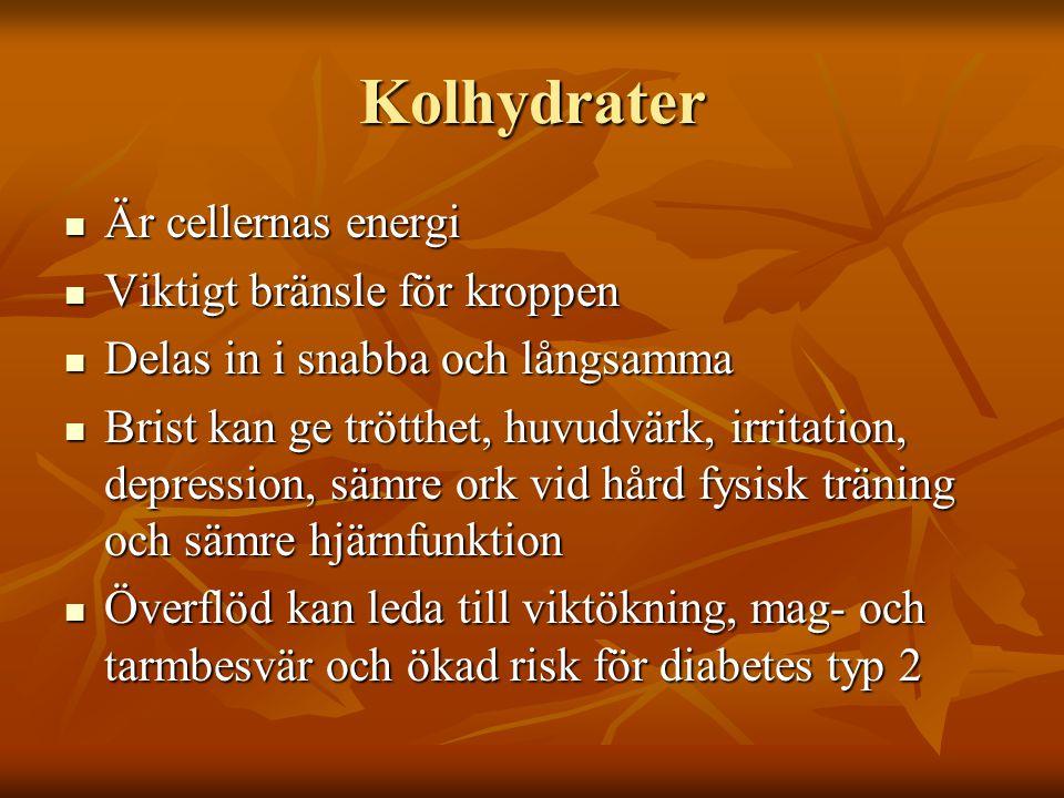 Kolhydrater Är cellernas energi Är cellernas energi Viktigt bränsle för kroppen Viktigt bränsle för kroppen Delas in i snabba och långsamma Delas in i