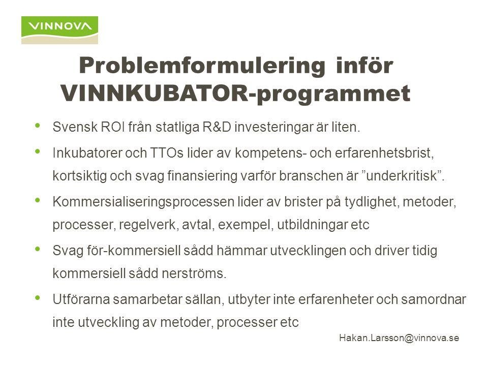 Hakan.Larsson@vinnova.se Problemformulering inför VINNKUBATOR-programmet Svensk ROI från statliga R&D investeringar är liten.
