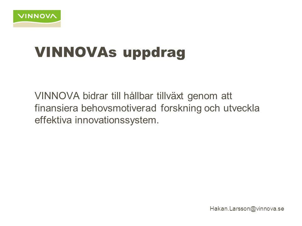 Hakan.Larsson@vinnova.se VINNOVAs uppdrag VINNOVA bidrar till hållbar tillväxt genom att finansiera behovsmotiverad forskning och utveckla effektiva innovationssystem.