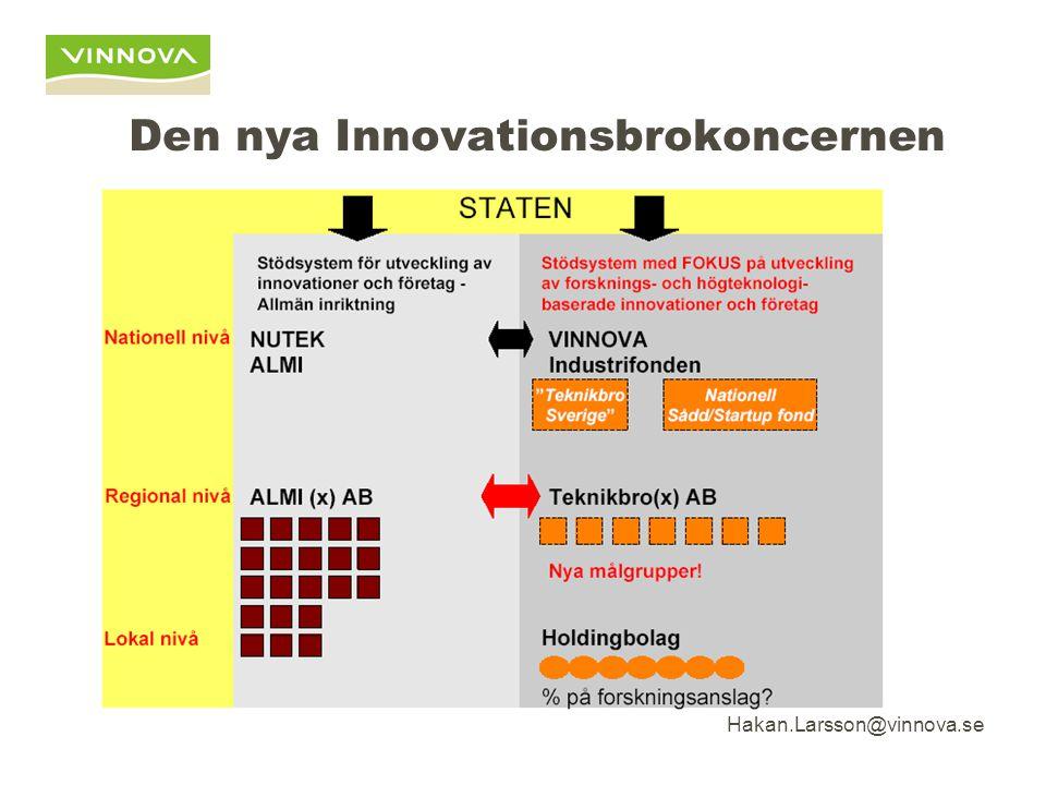 Hakan.Larsson@vinnova.se Den nya Innovationsbrokoncernen