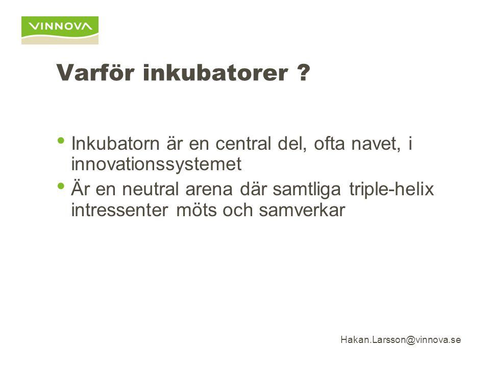 Hakan.Larsson@vinnova.se Varför inkubatorer .