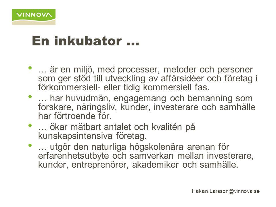 Hakan.Larsson@vinnova.se En inkubator … … är en miljö, med processer, metoder och personer som ger stöd till utveckling av affärsidéer och företag i förkommersiell- eller tidig kommersiell fas.