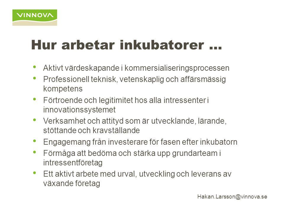 Hakan.Larsson@vinnova.se Hur arbetar inkubatorer … Aktivt värdeskapande i kommersialiseringsprocessen Professionell teknisk, vetenskaplig och affärsmässig kompetens Förtroende och legitimitet hos alla intressenter i innovationssystemet Verksamhet och attityd som är utvecklande, lärande, stöttande och kravställande Engagemang från investerare för fasen efter inkubatorn Förmåga att bedöma och stärka upp grundarteam i intressentföretag Ett aktivt arbete med urval, utveckling och leverans av växande företag