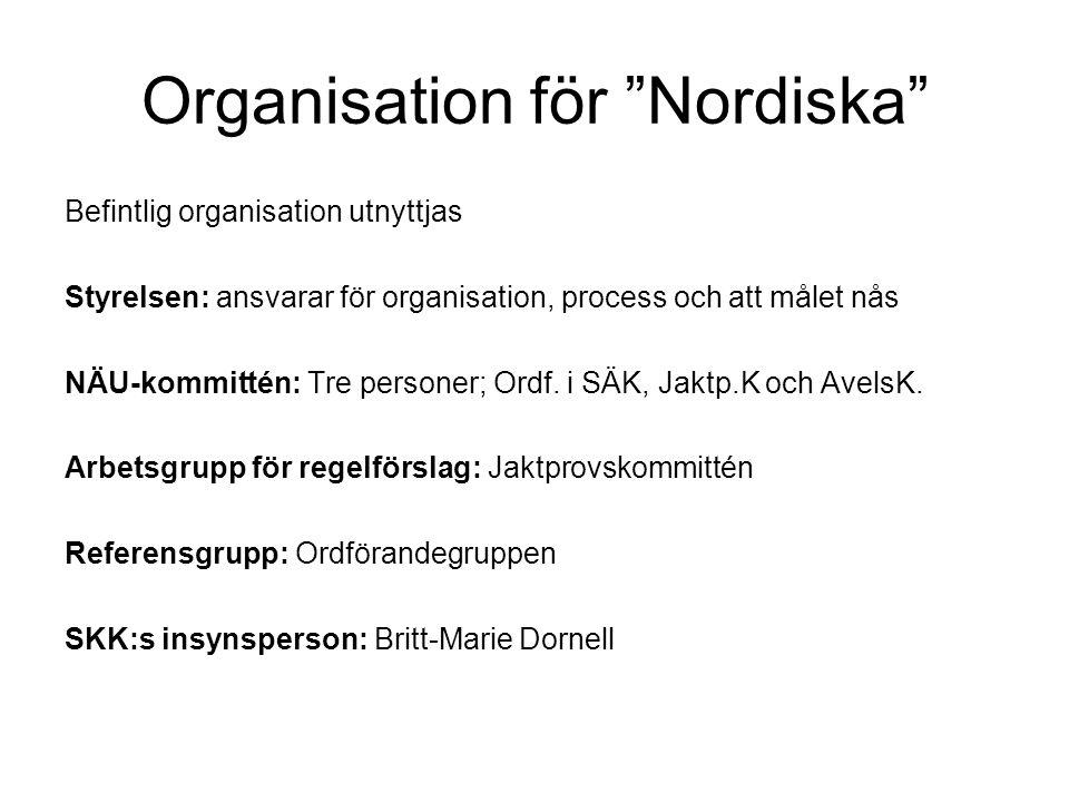 Organisation för Nordiska Befintlig organisation utnyttjas Styrelsen: ansvarar för organisation, process och att målet nås NÄU-kommittén: Tre personer; Ordf.