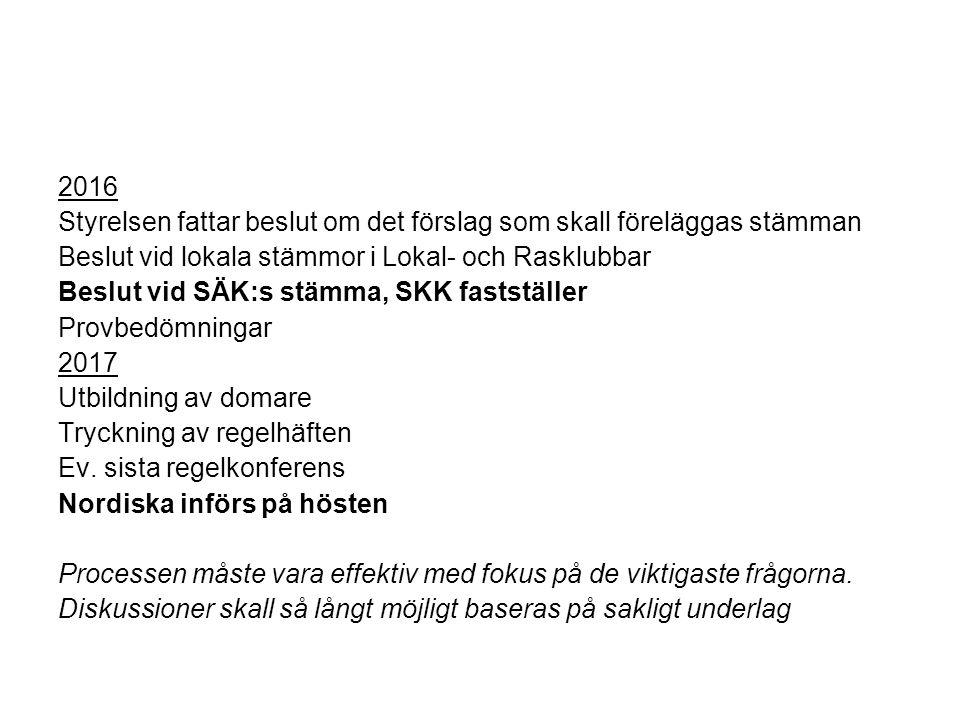 2016 Styrelsen fattar beslut om det förslag som skall föreläggas stämman Beslut vid lokala stämmor i Lokal- och Rasklubbar Beslut vid SÄK:s stämma, SKK fastställer Provbedömningar 2017 Utbildning av domare Tryckning av regelhäften Ev.