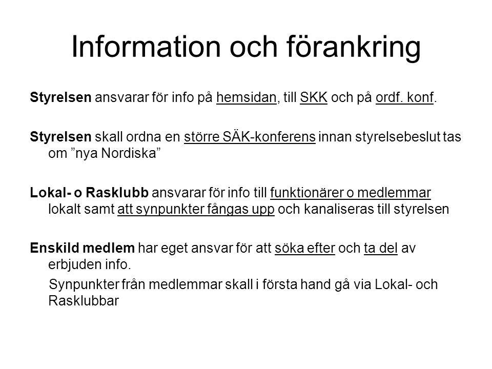 Information och förankring Styrelsen ansvarar för info på hemsidan, till SKK och på ordf.