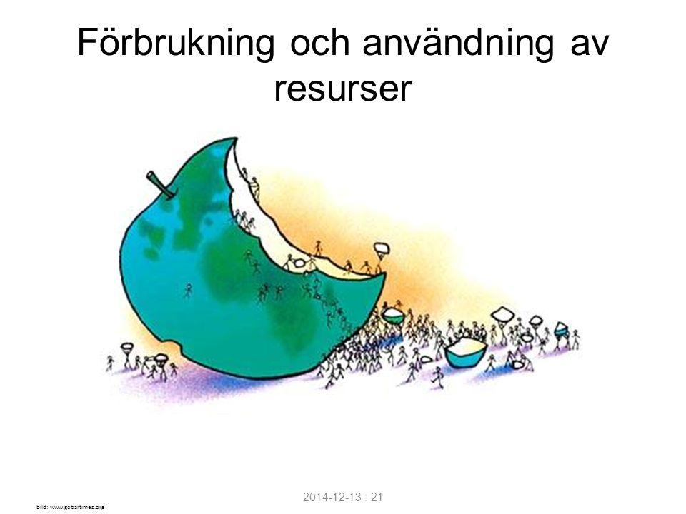 2014-12-13 : 21 Förbrukning och användning av resurser Bild: www.gobartimes.org