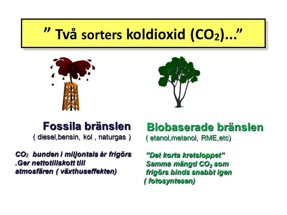 """ Två sorters koldioxid (CO 2 )..."" Fossila bränslen Fossila bränslen ( diesel,bensin, kol, naturgas ) ( diesel,bensin, kol, naturgas ) CO 2 bunden i"