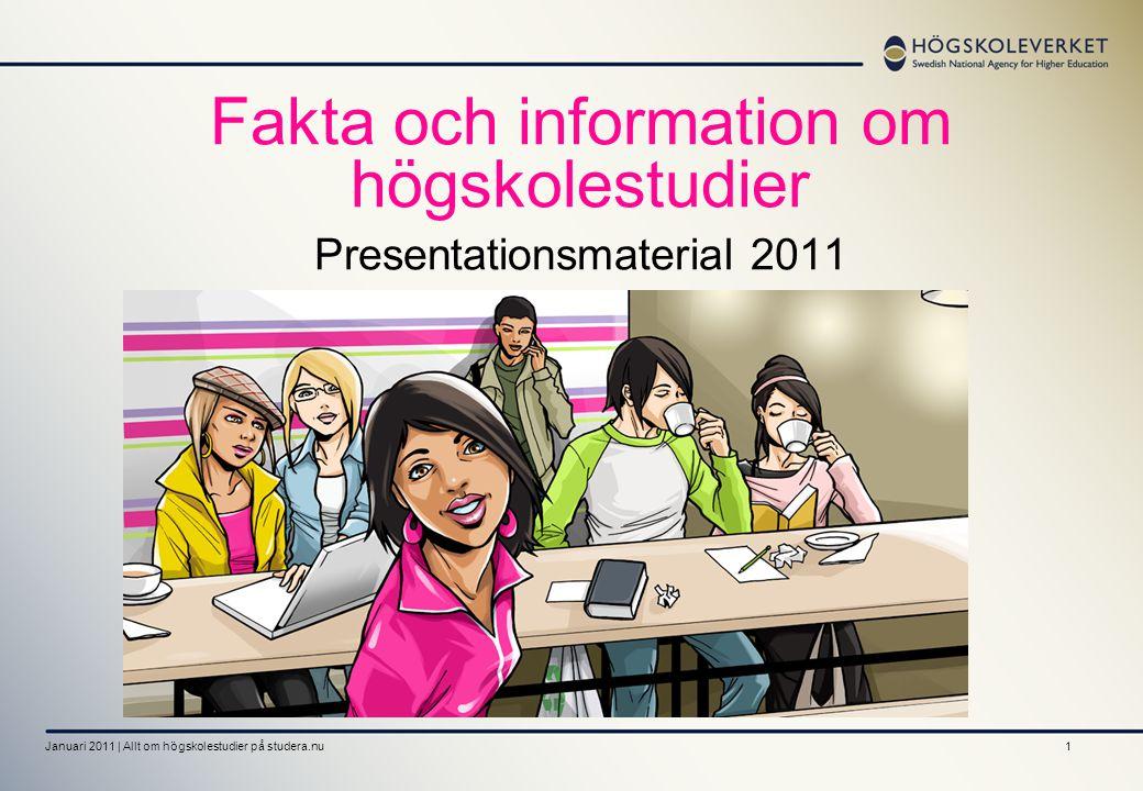 1 Fakta och information om högskolestudier Presentationsmaterial 2011 Januari 2011 | Allt om högskolestudier på studera.nu