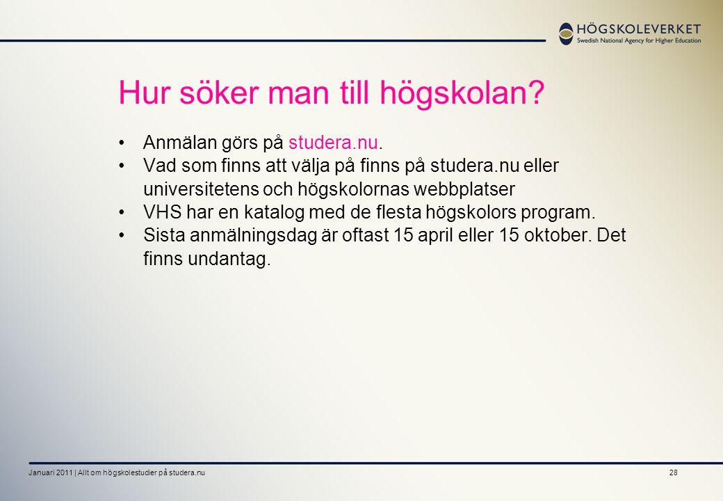 28 Hur söker man till högskolan? Anmälan görs på studera.nu. Vad som finns att välja på finns på studera.nu eller universitetens och högskolornas webb