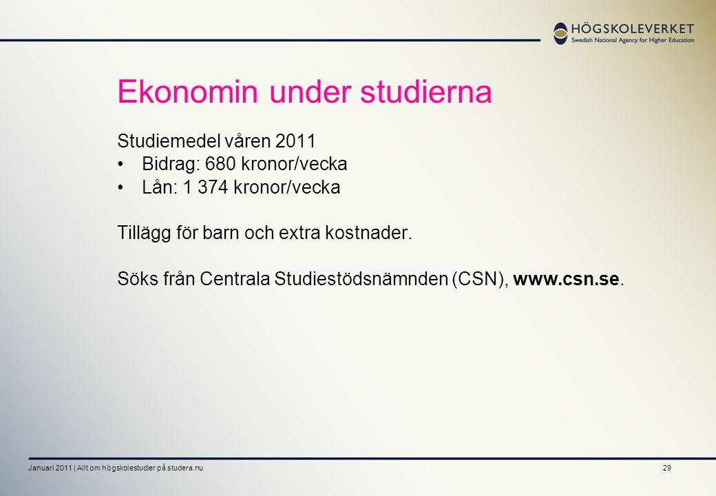 29 Ekonomin under studierna Studiemedel våren 2011 Bidrag: 680 kronor/vecka Lån: 1 374 kronor/vecka Tillägg för barn och extra kostnader. Söks från Ce