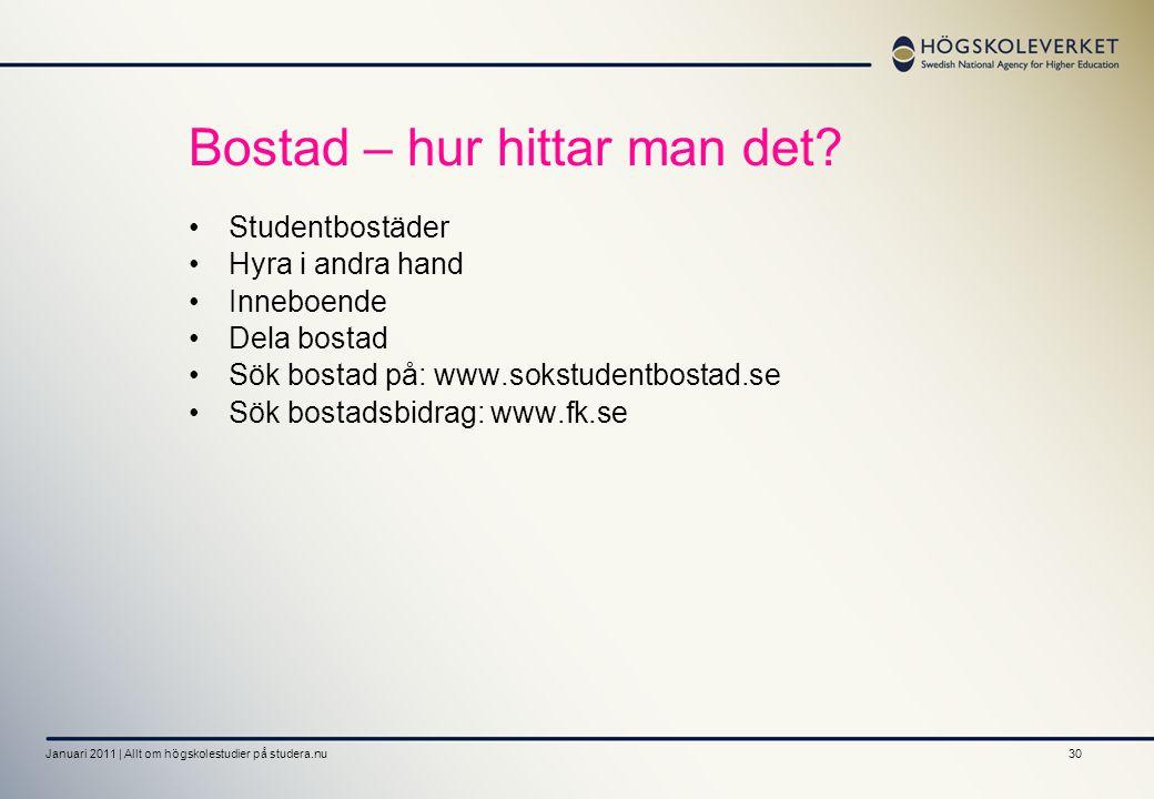 30 Bostad – hur hittar man det? Studentbostäder Hyra i andra hand Inneboende Dela bostad Sök bostad på: www.sokstudentbostad.se Sök bostadsbidrag: www