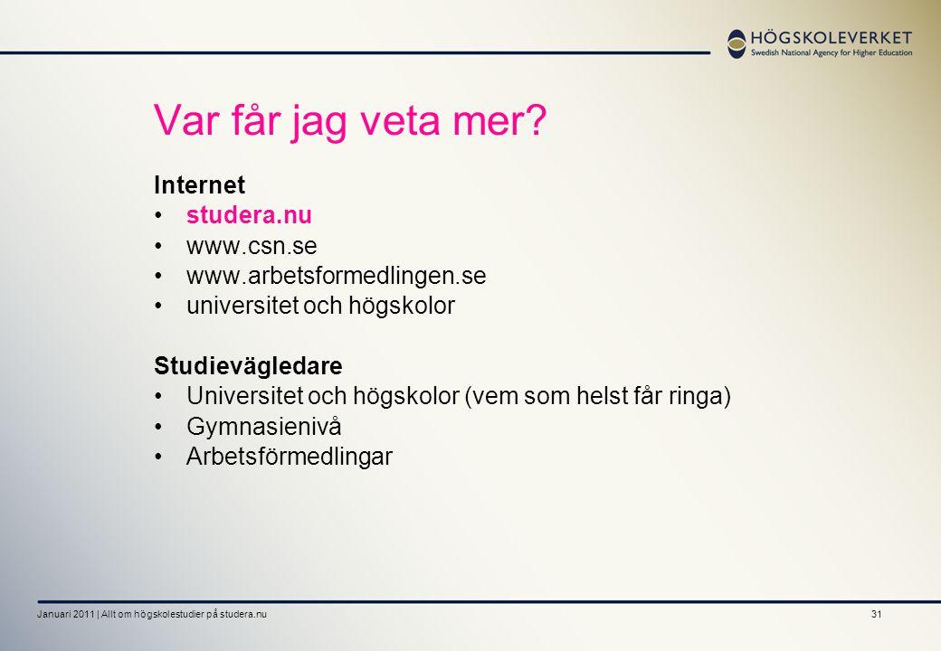 31 Var får jag veta mer? Internet studera.nu www.csn.se www.arbetsformedlingen.se universitet och högskolor Studievägledare Universitet och högskolor