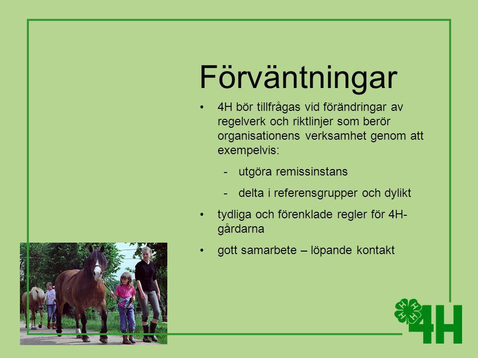 Förväntningar 4H bör tillfrågas vid förändringar av regelverk och riktlinjer som berör organisationens verksamhet genom att exempelvis: -utgöra remissinstans -delta i referensgrupper och dylikt tydliga och förenklade regler för 4H- gårdarna gott samarbete – löpande kontakt