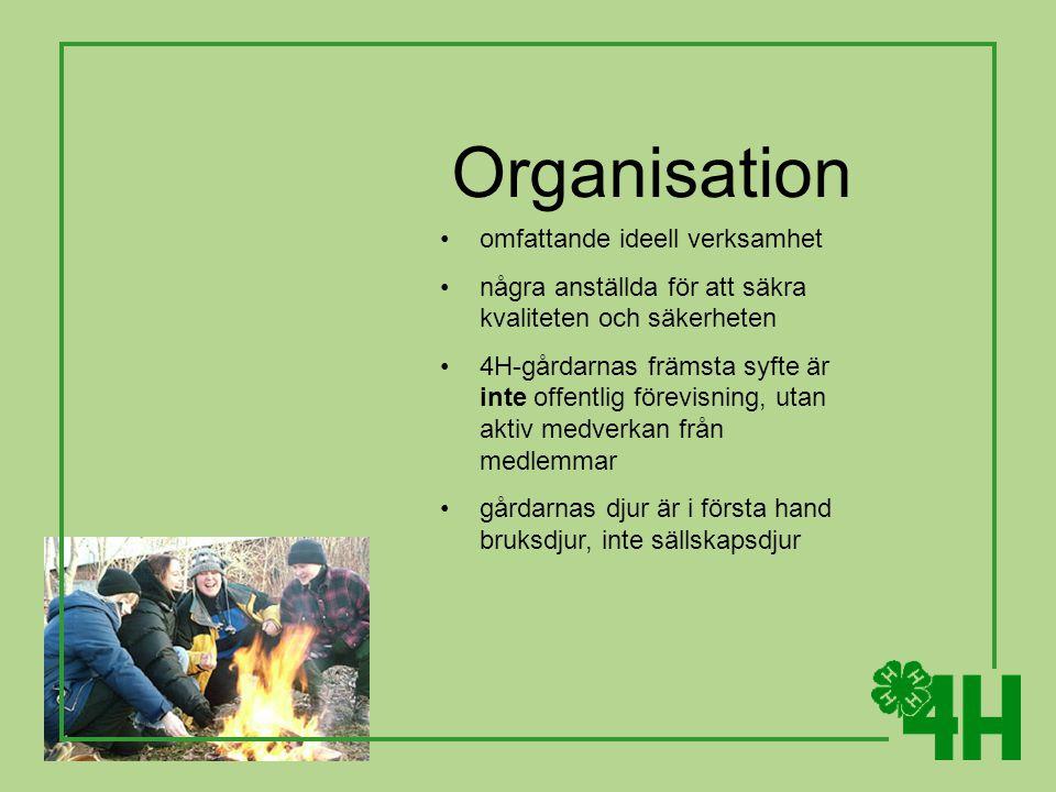 Organisation omfattande ideell verksamhet några anställda för att säkra kvaliteten och säkerheten 4H-gårdarnas främsta syfte är inte offentlig förevisning, utan aktiv medverkan från medlemmar gårdarnas djur är i första hand bruksdjur, inte sällskapsdjur