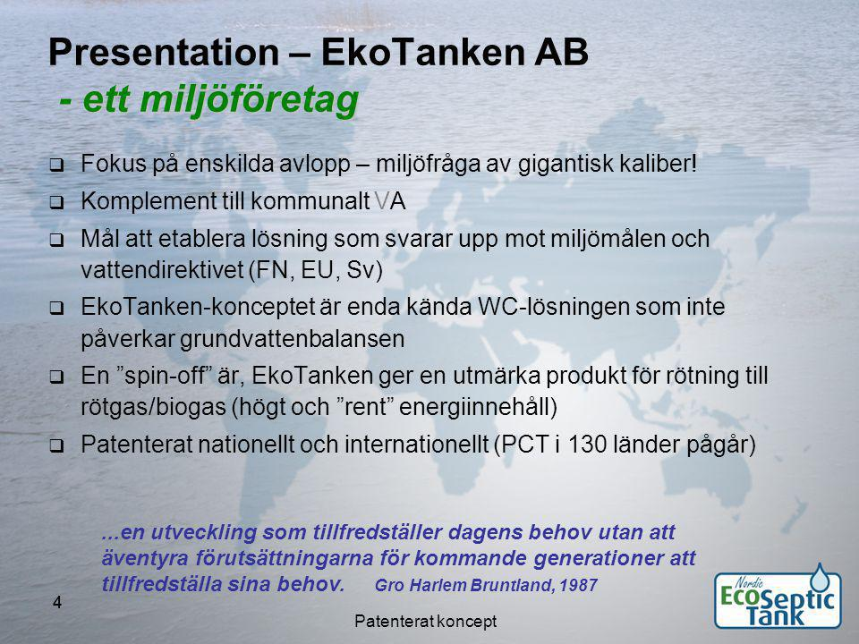 Patenterat koncept 55 - ett kompetensföretag Presentation – EkoTanken AB - ett kompetensföretag Inom företaget:  Bioenergi, biobränsle  Klimat-, och energioptimering  Transportlogistik, fordonsoptimering  Innovation, konstruktion Närbelägen/konsultativ kompetens:  Geoteknik  Grundvatten  Elenergi  Miljökemi...en utveckling som tillfredställer dagens behov utan att äventyra förutsättningarna för kommande generationer att tillfredställa sina behov.