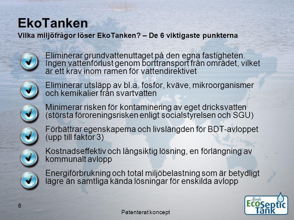 Patenterat koncept 7 Dagens agenda  Presentation och introduktion  EkoTanken-konceptet – lösning, ekologi, energi och ekonomi  Lösningens relation till kommuners Biogas-program  Miljöaspekter – lagstiftning och direktiv