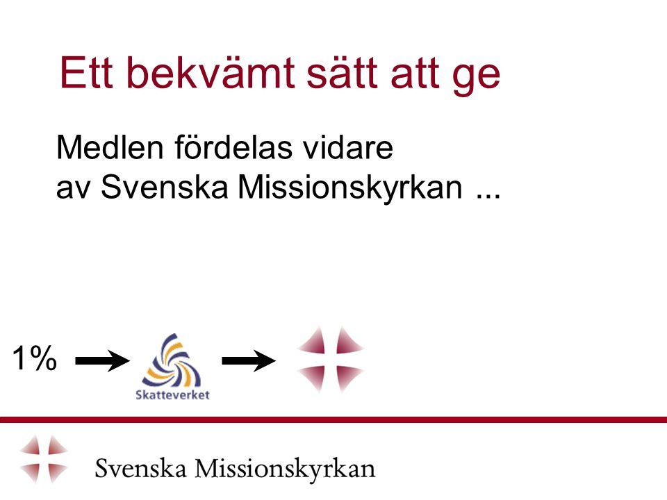 Medlen fördelas vidare av Svenska Missionskyrkan... Ett bekvämt sätt att ge 1%