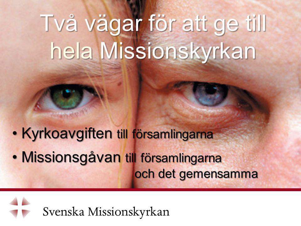 Två vägar för att ge till hela Missionskyrkan Kyrkoavgiften till församlingarna Kyrkoavgiften till församlingarna Missionsgåvan till församlingarna och det gemensamma Missionsgåvan till församlingarna och det gemensamma