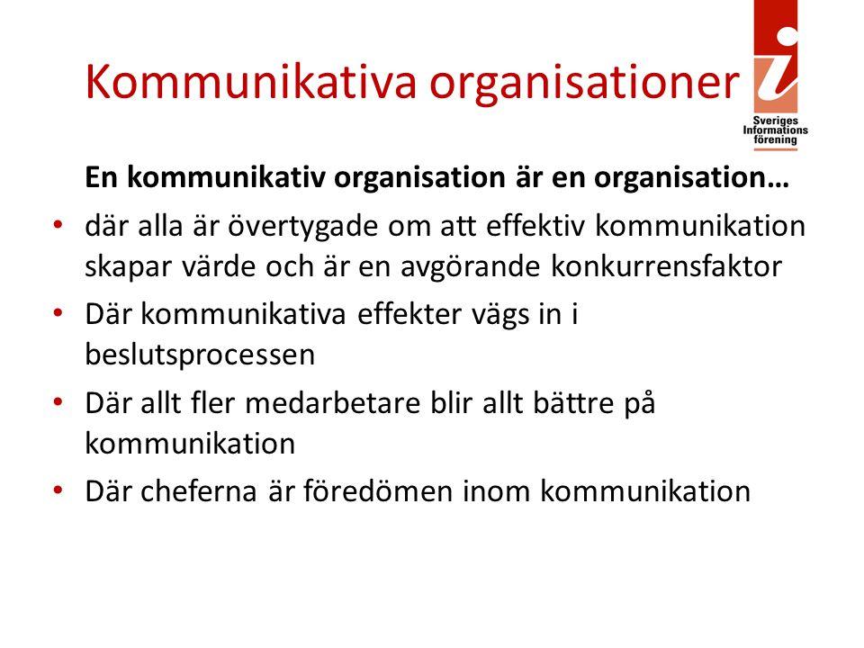 Kommunikativa organisationer En kommunikativ organisation är en organisation… där alla är övertygade om att effektiv kommunikation skapar värde och är en avgörande konkurrensfaktor Där kommunikativa effekter vägs in i beslutsprocessen Där allt fler medarbetare blir allt bättre på kommunikation Där cheferna är föredömen inom kommunikation